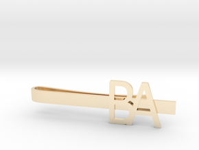 Custom Initial Tie Clip in 14k Gold Plated Brass