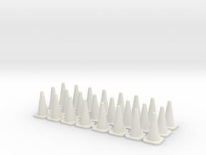 Traffic Cones 01. 1:43 scale in White Natural Versatile Plastic