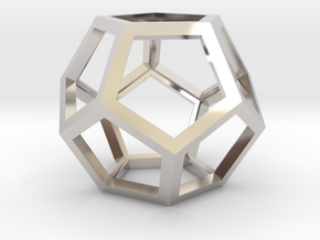 "Dodecahedron 1.75"" in Rhodium Plated Brass"