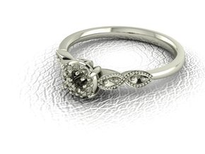 Detailed illusion ring NO STONES SUPPLIED in Fine Detail Polished Silver