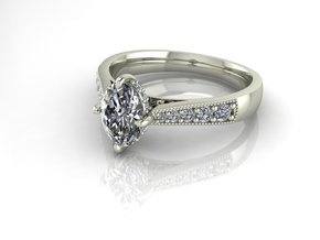 Classic oval Solitaire NO STONES SUPPLIED in Fine Detail Polished Silver