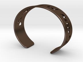 Cuff Bracelet  Per Aspera ad Astra in Polished Bronze Steel