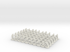 6mm B1 Battle Bots Platoon (X60 Bots) in White Natural Versatile Plastic