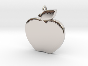 Apple-Pendant-Stl-3D-Printed-Model in Rhodium Plated Brass: Medium