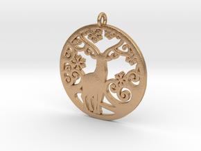 Deer-Circular-Pendant-Stl-3D-Printed-Model in Natural Bronze: Medium