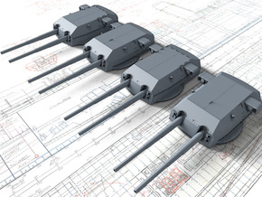 "1/700 H Class 40.6 cm/52 (16"") SK C/34 Guns in Smoothest Fine Detail Plastic"