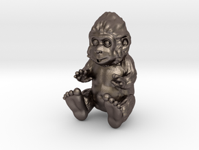Baby Sasquatch in Polished Bronzed-Silver Steel