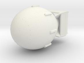 1:48 Miniature Fat Man Nuclear Bomb in White Natural Versatile Plastic: 1:48 - O