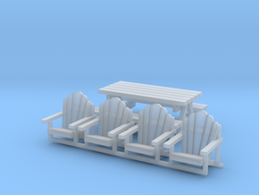 'N Scale' - Chairs and Table in Smooth Fine Detail Plastic
