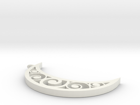 Swirl Moon Pendent in White Natural Versatile Plastic: Extra Small