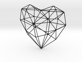 SIMPLE HEART - minimalist wireframe pendant design in Black Natural Versatile Plastic: Small