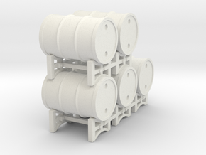 Drum rack with 5 drums - 1:50 in White Natural Versatile Plastic