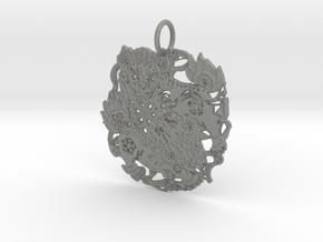 Japanese Filigree Lion Pendant in Gray PA12: Medium