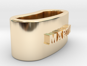 MARTIN 3D Napkin Ring with lauburu in 14K Yellow Gold