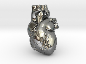 Human Heart Pendant in Polished Silver