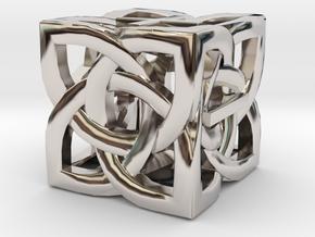 Celtic Fudge / Fate Dice dF in Rhodium Plated Brass