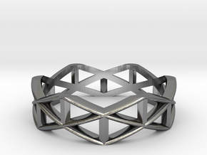 Truss Ring  in Fine Detail Polished Silver: 5 / 49