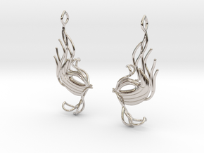 Masquerade fish earring pair in Rhodium Plated Brass
