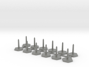 Omni Scale Stand Sprue of 12 Flight Stands WEM in Gray PA12