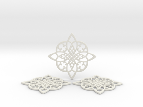 3 Fractal Coasters in White Natural Versatile Plastic
