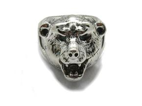 Bear Ring  in Natural Silver: 6 / 51.5