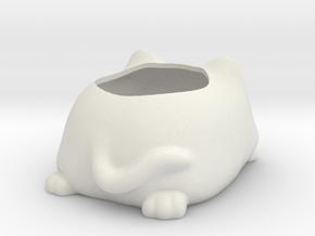 Sleepy Cat Succulent Holder in White Natural Versatile Plastic