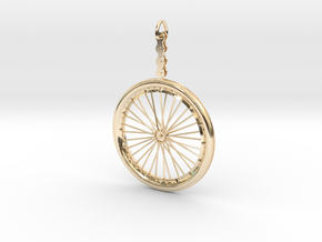 Bicycle Wheel Pendant in 14K Yellow Gold