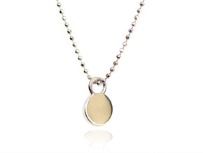 Minimalist Necklace Pendant - Necklace Charm Tag in 14k White Gold