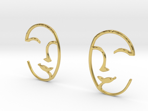 Doodle-face Ear Weights in Polished Brass