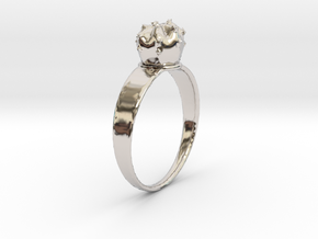 Cactus Ring in Rhodium Plated Brass