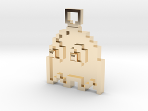 Pixel Art  - Pacman - Ghost in 14K Yellow Gold