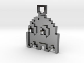 Pixel Art  - Pacman - Ghost in Polished Silver