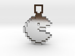 Pixel Art - Pacman  in Polished Silver
