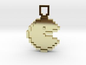 Pixel Art - Pacman  in 18k Gold Plated Brass