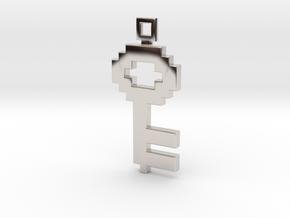 Pixel Art  -  Key  in Rhodium Plated Brass