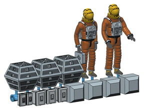 SPACE 2999 1/72 ASTRONAUT TWO W BOXES SET in Smoothest Fine Detail Plastic
