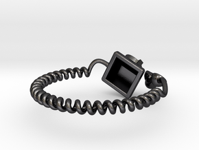 Old Telephon Ring in Polished and Bronzed Black Steel: 8.5 / 58