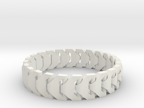 Large Articulating Print in Place Bracelet Version in White Natural Versatile Plastic