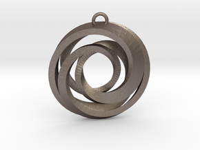 Geometrical pendant no.22 in Polished Bronzed-Silver Steel