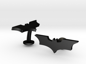 Batman Dark Knight Wedding Cufflinks in Matte Black Steel