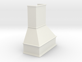 Miniature Chimney Hood 1:24 Scale in White Natural Versatile Plastic