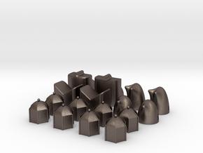 MILOSAURUS Shatranj Ancient Chess Set in Polished Bronzed-Silver Steel