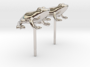 Frog Earrings in Rhodium Plated Brass