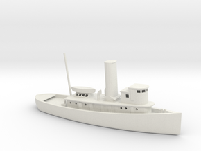1/285 Scale 100 foot wooden harbor tug Retriever in White Natural Versatile Plastic