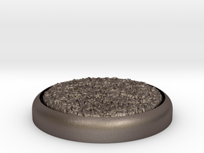 """Grassy 1"""" Circular Miniature Base Plate in Polished Bronzed-Silver Steel"""