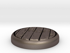 """Planks  1"""" Circular Miniature Base Plate in Polished Bronzed-Silver Steel"""