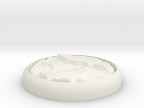 "Rocky 1"" Circular Miniature Base Plate in White Natural Versatile Plastic"