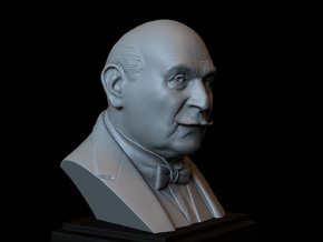 Hercule Poirot (David Suchet) Bust, Portrait in White Natural Versatile Plastic