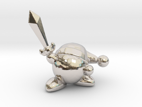 Kirby with Sword 1/60 miniature for games and rpg in Rhodium Plated Brass