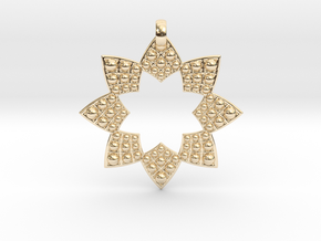 Fractal Flower Pendant in 14k Gold Plated Brass